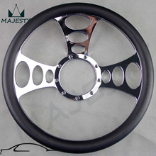 "14"" CHROME BILLET ALUMINUM STEERING WHEEL W/ HALF WRAP BLACK PVC 9-HOLE V-8(China)"