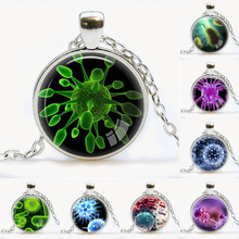Virus Pendant Virology jewelry Virus necklace Microbe biology pendant science gift  microscopic view of a virus Pendants