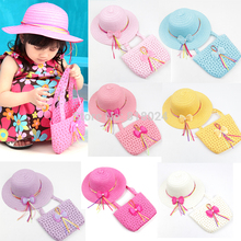 2015 Promotion Lovely Bowknot Kids Girl Cute Summer Beach Sun Protection Straw Hat Flower Cap Bag Glacier Cap