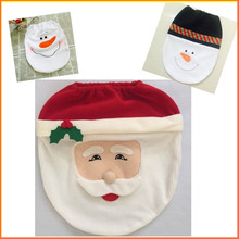 Free ship Toilet seat cover snowman Santa claus bathroom products Cotton overcoar Toilet case for Christmas home decoratioin
