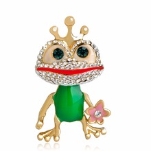 Vivid Enamel Green Frog Prince Shape Brooches Gold-Color Crystal Rhinestone Animal Toad Alloy Fine Wedding Lapel Pins Jewelry(China)