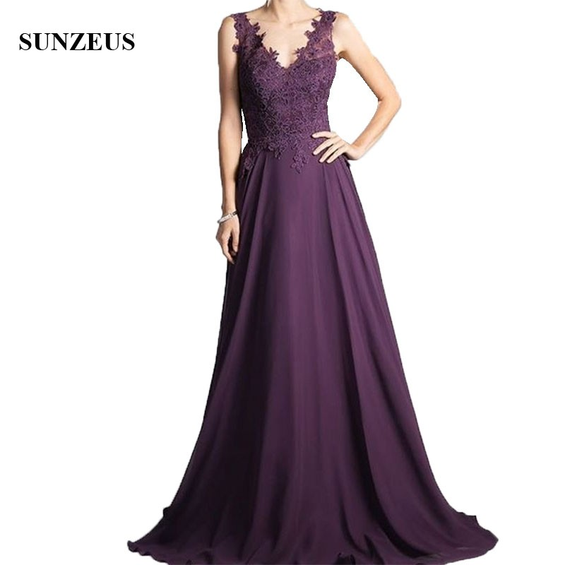 Long Purple Chiffon Mother Of The Bride Dresses A Line V-neck Tank Floor Length Women Party Gowns Elegant Appliques Lady Dress