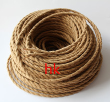 10M/Lot 2*0.75  Vintage Rope Textile Wire Twisted Cable Braided Electrical Wire Retro Pendant Light Lamp Line Vintage Lamp Cord