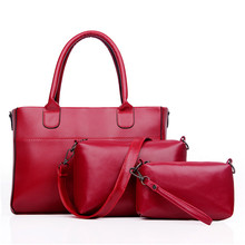 New Women Red Tote Bag Ladies Handbags PU Leather Shoulder Bag Luxury Brand Handbag Braided Lines Tote Bag 3 Sets 2017