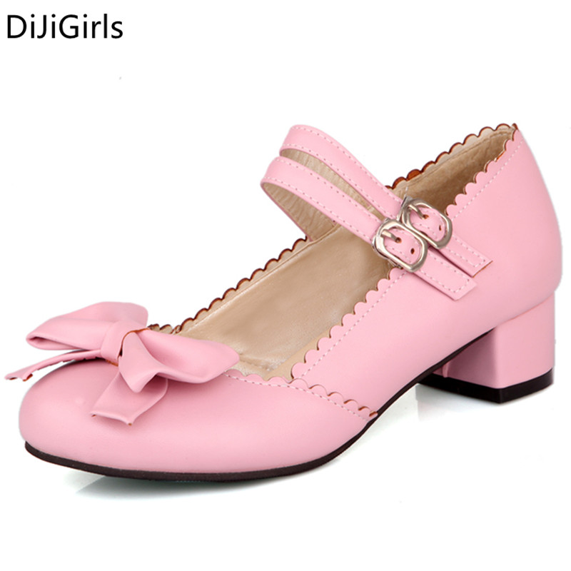 2017 Spring Sweet lolita shoes woman pink pumps female chunky heel buckle strap high heels shoes ladies dance bowtie Shoes Black<br><br>Aliexpress