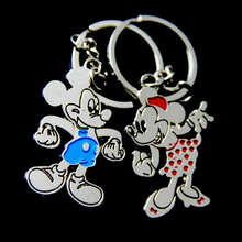 1 Pair Anime Mickey Mouse Couple Keychain llaveros Lovers Key chain Chaveiros Key Ring Men/Women Jewelry Gift Valentines