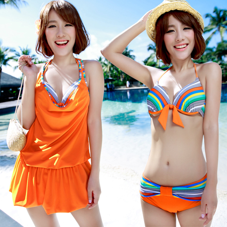New  Women Three Pieces Bikini Swimwear Print Striped Halter Bandage Biquini Beach Wear Push Up Biquini Bikinis DB249<br><br>Aliexpress