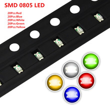 100pcs/lot 5 Colors SMD 0805 (2012) Led Ultra Bright Red/Green/Blue/Yellow/White Water Clear LED Light Diode
