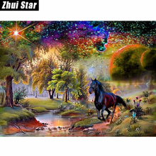 Buy New 5D DIY Diamond Painting Black Horse Embroidery Full Square Diamond Cross Stitch Landscape Rhinestone Mosaic Painting Decor for $5.80 in AliExpress store