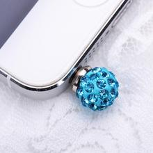 50 pcs 3.5mm Crystal Rhinestone Diamond Phone Anti Dust Plug for iPhone Samsung Earphone Jack Plugs Enchufes Adaptadores Plug