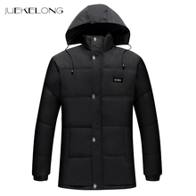 2018 New Men Parka Men Cotton Padded Long Thick Warm Padded Parka Winter Polyester Coat Thick Parkas With Raccoon Fur Collar(China)