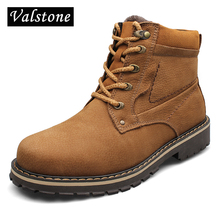 Valstone Quality Hand made Martin Boots Men First layer Genuine Leather Ankle Worker Boots Warm high top Botas plus size Euro 52(China)