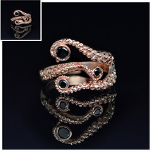 Drop Shipping Octopus Ring Seductive Tentacle Ring in Rose Gold Plating and Black Rhinestone by Octopus wedding rings for women(China)
