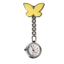 Yellow Butterfly  Mini Nurse Table Pocket Watch Women with Clip Brooch Chain Quartz nurse watch
