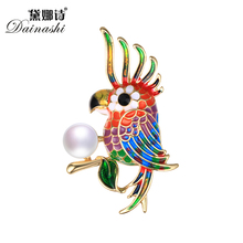 2017 Fashion Dainashi Vintage Parrot Brooch Pins,Colorful Bird Brooch Set AAAA Genuine Pearl Netral Brooches Fine Jewelry Gifts(China)