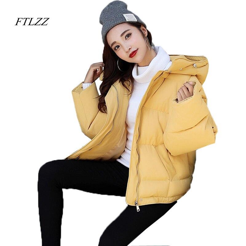 FTLZZ Women Winter Coat Jacket Warm Woman Parkas Female Loose Long Sleeve Hooded Cotton Parkas Fashion Bread Jacket Coat WomenÎäåæäà è àêñåññóàðû<br><br>
