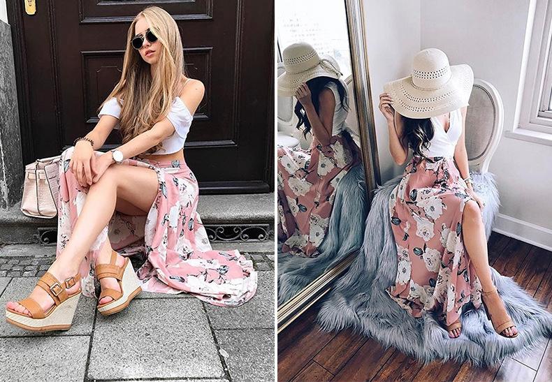 2018 Women Pants Beach Floral Print High Waist Plus Size Loose Chiffon Casual Wide Leg Pants Pink Split Sexy Women Trousers Sale 15