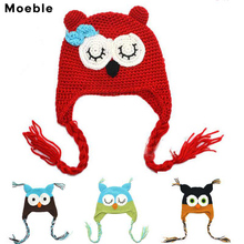 Moeble Winter Baby Soft Cartoon Hat Infant Crochet Owl beanie Hat With Ear Flap Animal Cap Handmade Knitted hat 1pc H021E