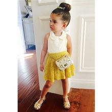2016 NEW Arrive Toddler Kids Baby Girls Lace Top Shirt Floral Skirt Set Summer Dress Outfits UK