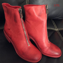 New Red Real Leather  Ankle Boots Women Round Toe Front Back Zipper HiGH Heel Boots Woman Handmade Sheepskin Matin Boots