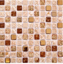 China Ceramic Polished porcelain wall tiles mosaic MD-CB01 YellowMosaic tiles backsplash bathroom floor tiles mosaic(China)