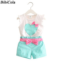 BibiCola new summer Baby girls Bow Clothing Set infant Children Suit Set 2Pcs Lattice Pants toddler kids Girls clothes Sets(China)