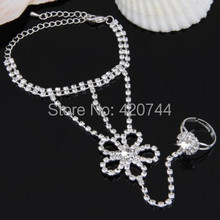 2PCS Silver Plated Crystal Rhinestone Flower Finger  Bracelet Chain Link