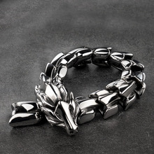 High quality Dragon Black vintage punk bracelet for men stainless steel fashion fashion