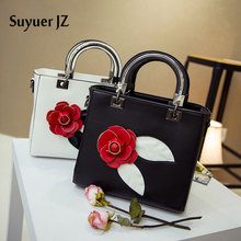 Suyuer ZJ Brand Bag Women's Tote 2017 New Fashion Three-dimensional Rose Petals Bag Elegant Handbag Shoulder Bag Messenger Bag