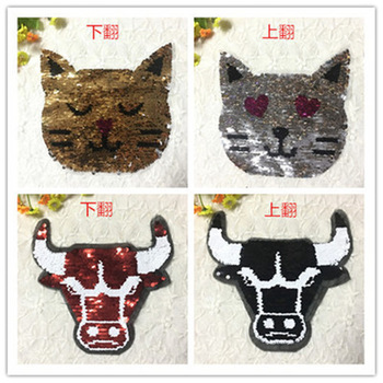 2017 NEW Cat and OX Reversible Change color Sequins Sew On Patches for clothes DIY Patch Applique Bag Clothing Coat Jeans Craft