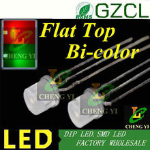 Good quality 5mm multicolor led diode Flat top RED&Green 3-pin led bulb(Diffused DIP LED)common cathode