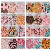 50pcs/lot flat back resin cabochons kawaii resin cake about 15mm mix colors resin foods(China)