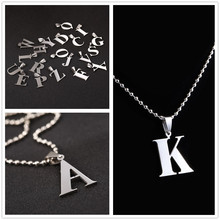 New Design A-Z Letter Charm Pendant Necklaces For Men Ball Chain Necklace 26 Letters Pendant Necklace Stainless Steel