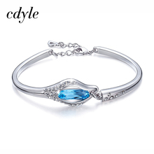 Cdyle Chic Bangles Women Bangle Fashion Bracelets Women Bracelet Crystals From Swarovski Charm Austrian Rhinestone Paved Fashion(China)
