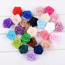 15pcs/lot Handmade 3.5cm Satin Rose Ribbon Rosettes Fabric Flower DIY Wedding Decor Bow Appliques Craft Sewing Accessories 3