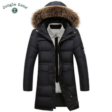 JUNGLE ZONE  Winter Warm black Coat 90% White Duck Down Long Jacket Coat Men's Casual Down Jacket natural fur collar hooded coat