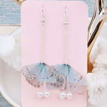 "Doreen Box Organza Ethereal Butterfly Earrings Silver color Green Blue Created Pearl 80mm(3 1/8"")long,1 Pair 2017 new"