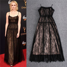 Sexy Spaghetti Strap Lace Dress Top Quality New Fashion Party Wear Dinner 2017 Summer Women Black Ankle Length Long Lace Dresses