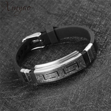 XINYAO 2017 New Titanium Stainless Steel Great Wall Bracelet Fashion Black Silicone Bracelets Mens Jewelry Pulsera Hombre F8214