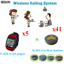 Kitchen Call Waiter System Used In Communication Personal Wireless Calling Service (5pcs watch pager + 41pcs call buzzer)(China)