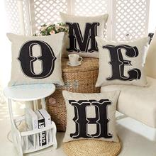 Contemporary and contracted English letters HOME HOME cotton pillowcase car sofa cushion for leaning on of 45 * 45 No Inner