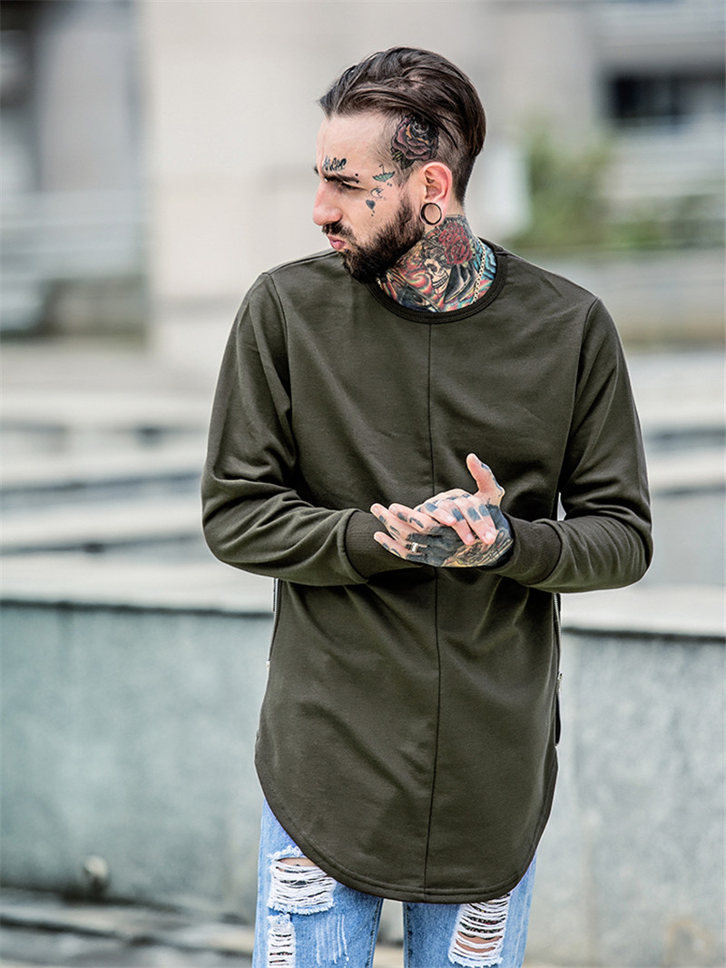 Cross Printed Hip Hop Sweatshirt Men 17Spring Streetwear Curved Hem Side Zipper Plain Mens Sweatshirts and Hoodies Man Clothes 11