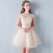 2017 New Arrival Real A-line Cap Sleeve Bow Satin Free Shipping Bridesmaid Dress Short Design Banquet One-piece Slim Female