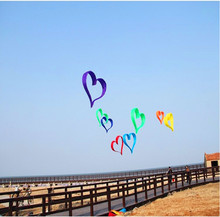 free shipping high quality 3d heart kite love with handle line ripstop nylon cerf volant octopus kite parachute big kite flying