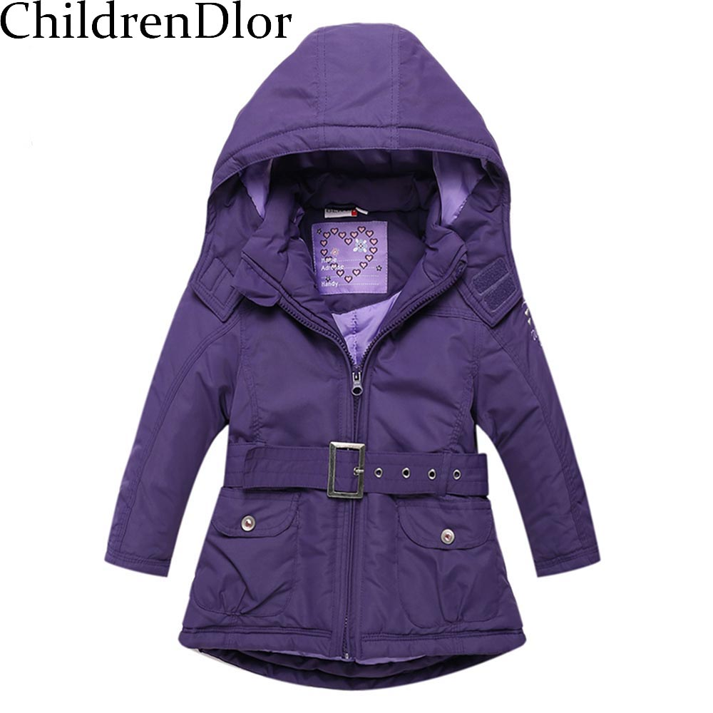 Christmas Girls Coats and Jackets Winter  Girls Jacket Hooded Kids Coat with Sashes Roupas Infantis Menina Girls Outerwear <br><br>Aliexpress