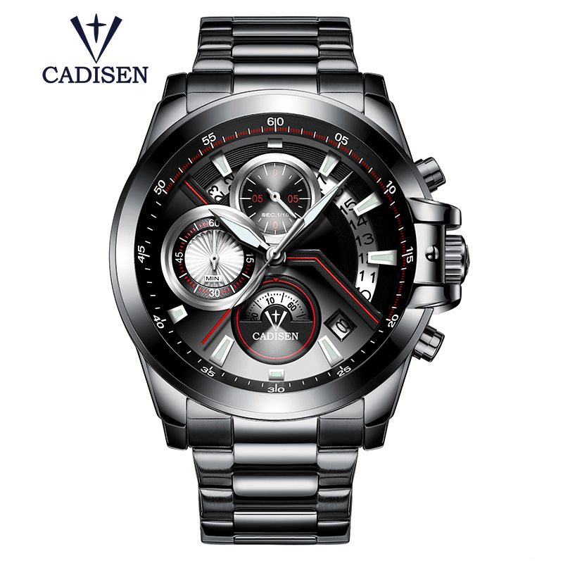 Cadisen sports mens watches luxury brand man clocks stainless steel leather calendar waterproof Multifunction male wristwatch<br>