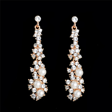SHUANGR Sparkling Gold Color Austrian Crystal Chandelier Earrings Bridal Long Drop Wedding Earrings for Women
