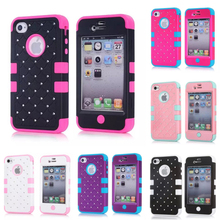 Screen Protector+Hybrid Bling Crystal Diamond Case 3 in 1 High Impact Heavy Duty Hard Rugged Case Cover For Apple iphone 4 4S 4G