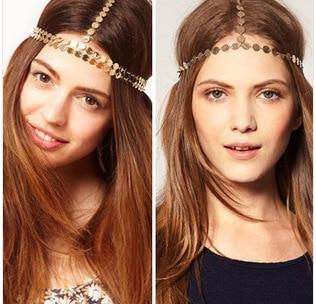 Disc Coin Crown Hair Cuff Wrap Headband Headwrap Headdress Boho Punk oth Chain