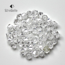 Bicone Beads Crystal AB 100PCS/LOT 4mm Czech Loose Crystal Beads/ Faceted Glass Beads for DIY Jewelry Earrings Bracelets(China)